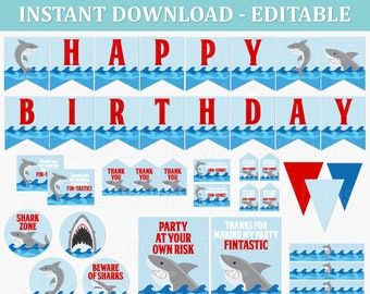 Shark Birthday Party Decor - Shark EDITABLE Printable Instant Download Birthday Party Decoration - Under the Sea Party Package