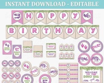 Girl Dinosaur Birthday Party Editable Printable Package - Dino Dig Party Decorations - Dino Decor Banner Cupcake Topper - INSTANT DOWNLOAD