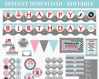50s Birthday Party Decor - 1950 Sock Hop Diner Birthday Party EDITABLE Printables -Poodle Skirt Cupcake Toppers Banner Instant Download