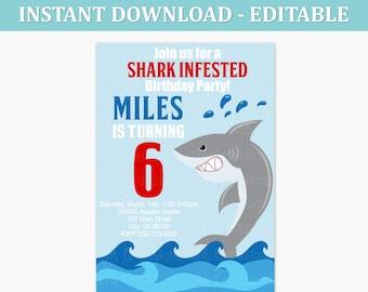 Shark Birthday Party Invitations - Shark EDITABLE Printable INSTANT DOWNLOAD Invitation - Under the Sea - Kids Party Invite