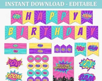 Girl Superhero Birthday Party Decor - EDITABLE Printable Instant Download PDF - Superhero Party Signs, Superhero Buildings, Photo Props