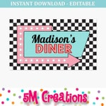 1950s Diner Party Sign - 50s Birthday Party Poster- Printable Sock Hop Party Backdrop - Retro Diner Soda Shop- EDITABLE INSTANT DOWNLOAD