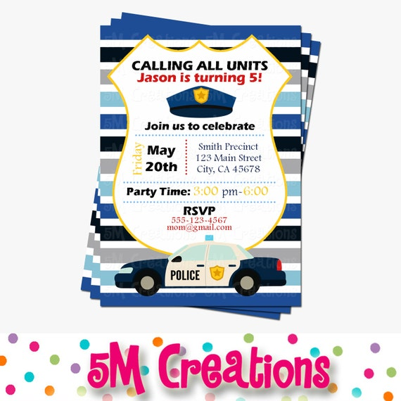 police party invitations cop party invite police birthday party
