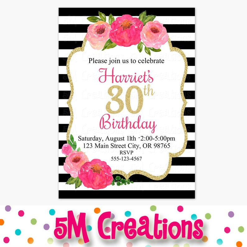 Floral Birthday Party Invitation Black White Pink Gold