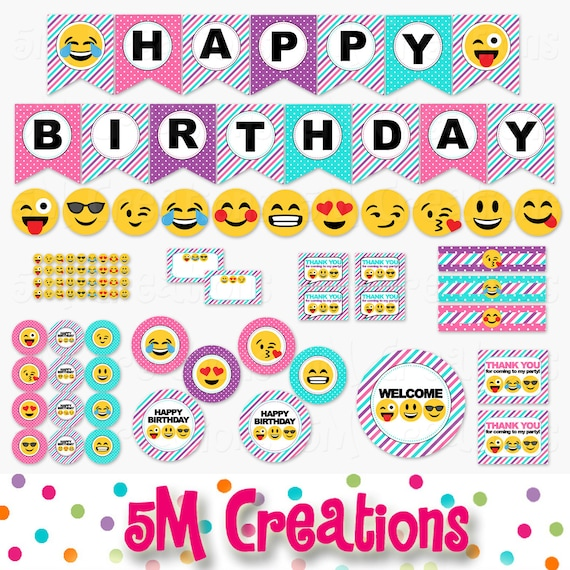 Girl Emoji Birthday Party Printable Decorations Smiley Face Birthday Party Printables Tween Teen Banner Cupcake Topper Instant Download By 5m Creations Catch My Party