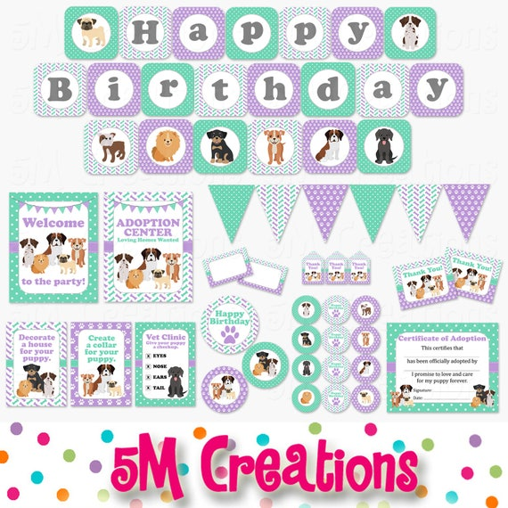 picture regarding Printable Decorations referred to as Dog Birthday Bash Printable Decorations - Canine Birthday