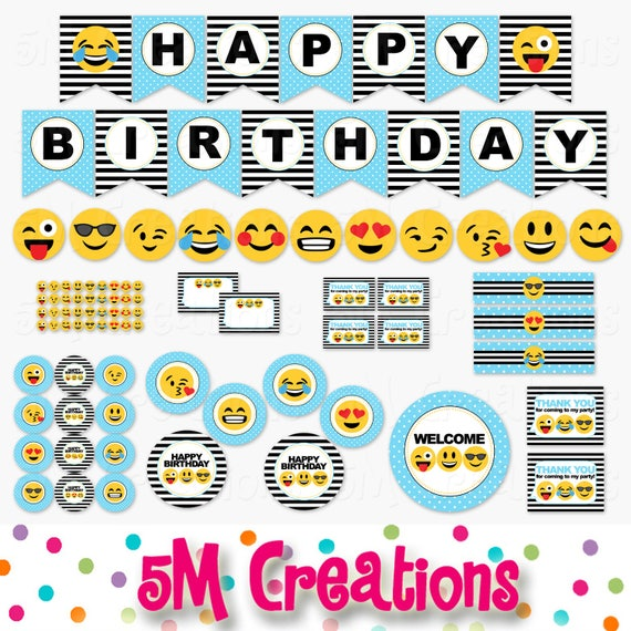 Emoji Birthday Party Printable Decorations Smiley Face