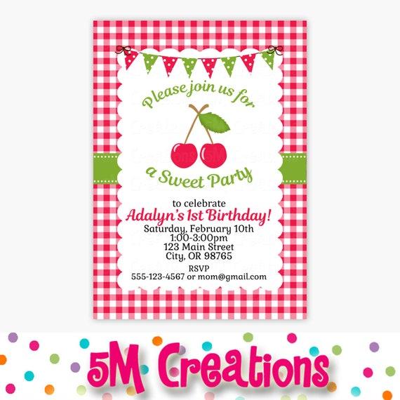 cherry birthday party invitation picnic birthday party red