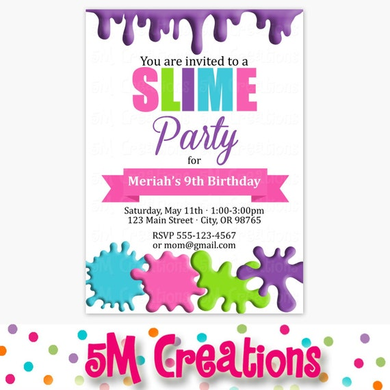 picture relating to Girl Birthday Party Invitations Printable called Slime Birthday Bash Invitation - Printable Slime Birthday