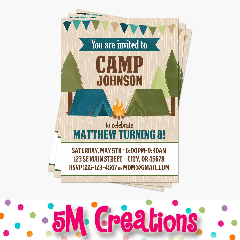 Camping Birthday Party Printable Invitation Camping Invite | Etsy
