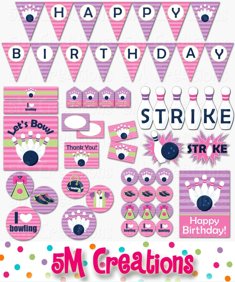 Bowling Birthday Party Decorations  Bowling Party Package  image 0