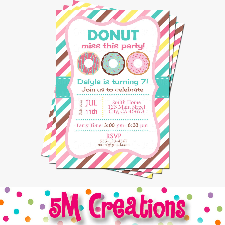 Donut Party Invitation Donut Birthday Party Invitation | Etsy