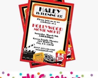 Movie Night Invitation - Awards Party Invitation - Movie Night Birthday Party - Oscar Party - Movie Night  Printable Invite