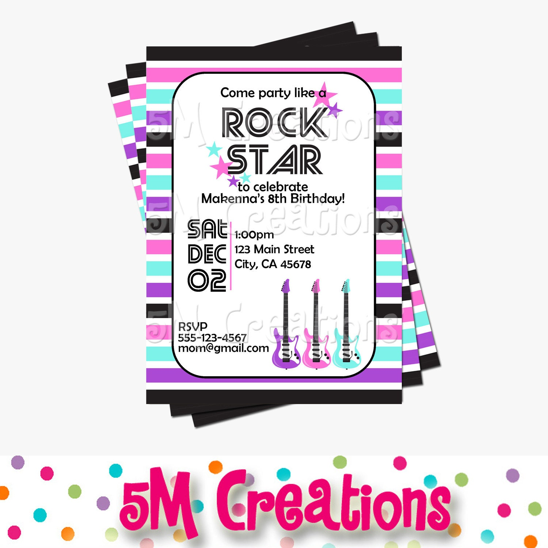 Rock Star Invitation Rock Star Birthday Party Invitation | Etsy