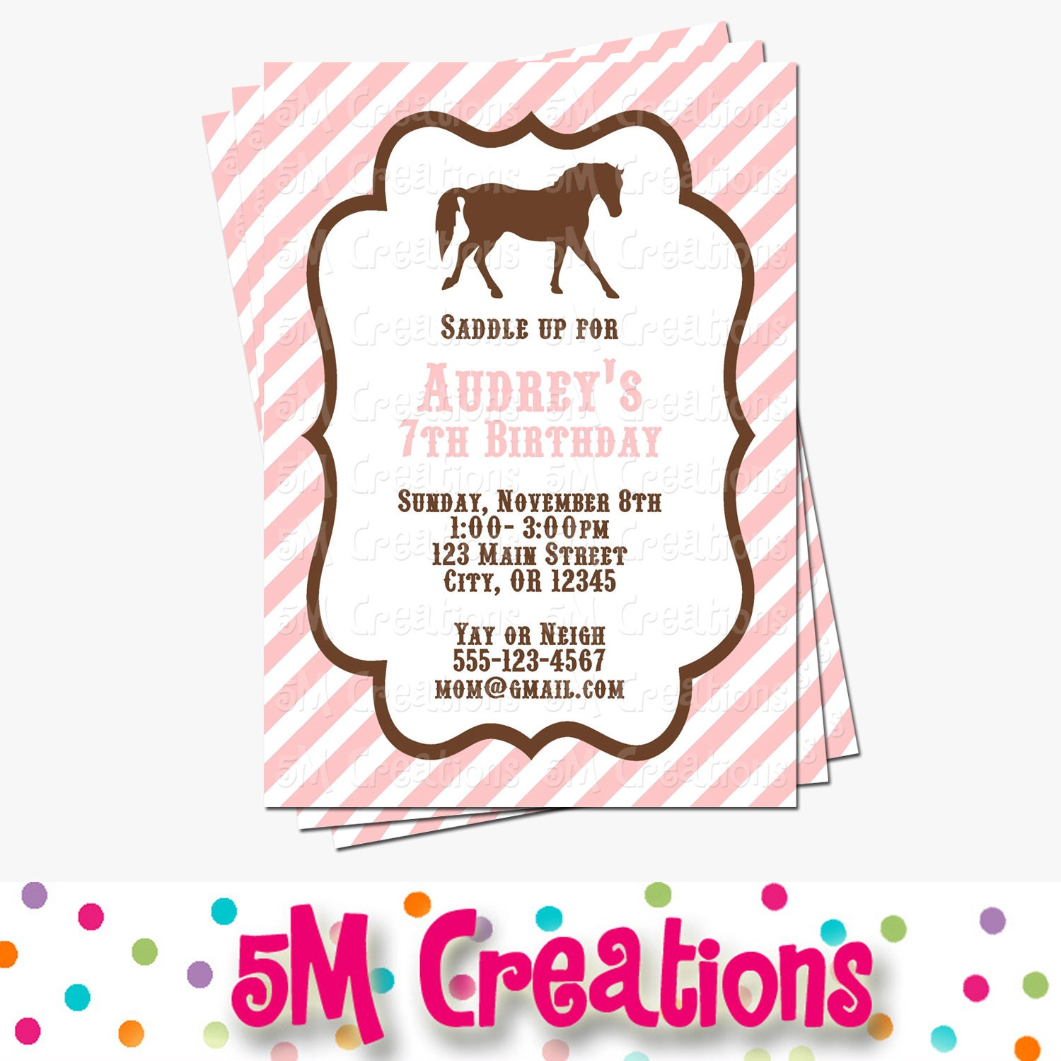 Pony Party Invitation Horse Birthday Invitations Cowgirl | Etsy