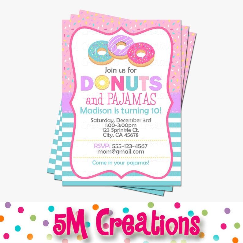 Donut Party Invitation  Doughnut Birthday Invitations  Donut image 1