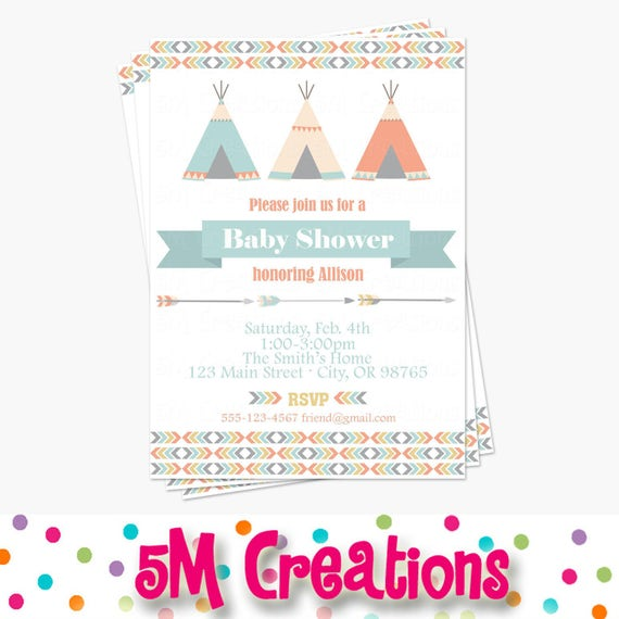 photo relating to Baby Shower Printable Invitations identify Tribal Boy or girl Shower Invitation - Minimal Leader Little one Shower