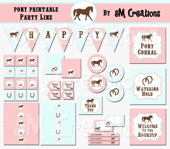 photograph about Printable Decorations referred to as PONY Birthday Bash Printable Decorations Offer - Horse