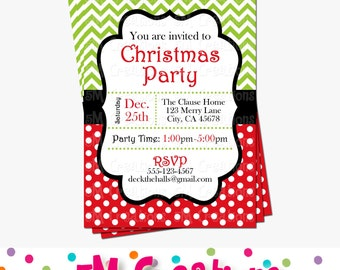 Chevron & Polka Dots CHRISTMAS Party Invitation - Christmas Printable Invitation - Red and Green Holiday Digital Invite
