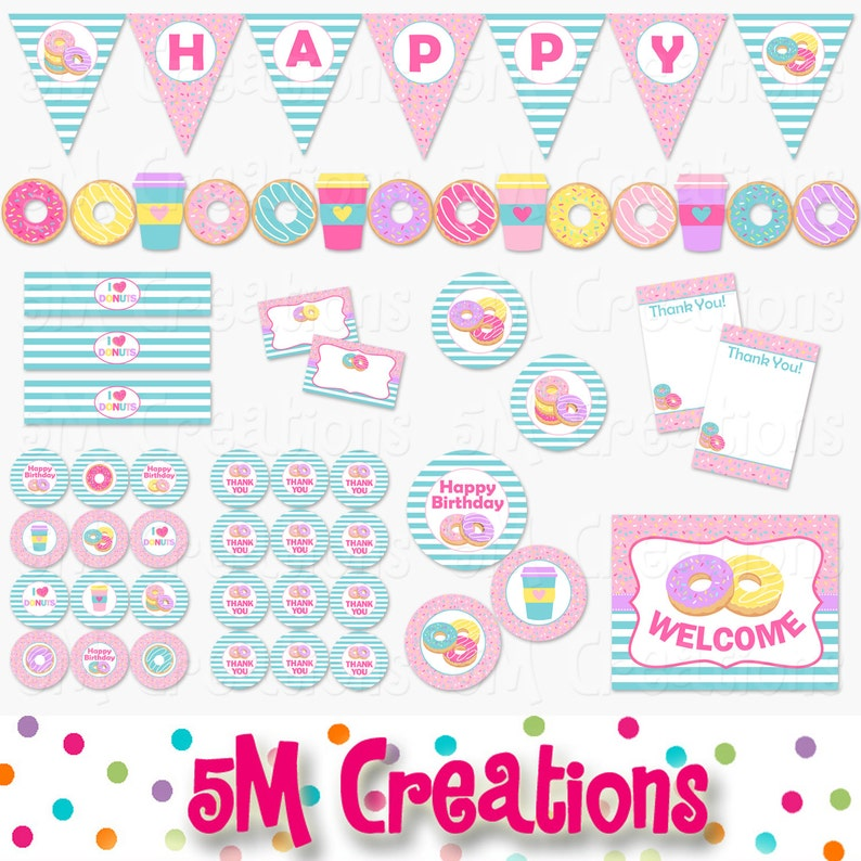 picture relating to Printable Decorations identify Donut Birthday Social gathering Printable Decorations Deal - Doughnut Bash Printables - Social gathering Banner - Donut Keep Celebration - Immediate Down load Pdf