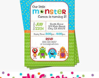 Monster Birthday Party Invitation - Little Monster Printable Invitation - Monster Birthday Party - Costume Party - Halloween Invite