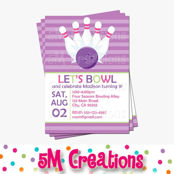bowling birthday party printable invitation girl bowling party
