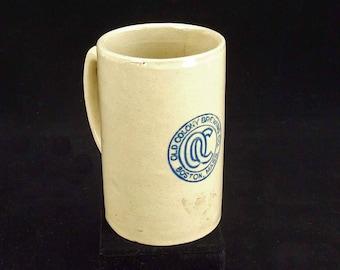 Vintage Salt Glaze Pottery Crock Blue Old Colony Brewing Company Boston Mass Beer Mug Stein