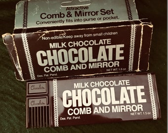 66f774253 Vintage Hershey s Comb and Mirror Advertising Novelty Set Milk Chocolate  Bar Look Mirror In Original Package Unused