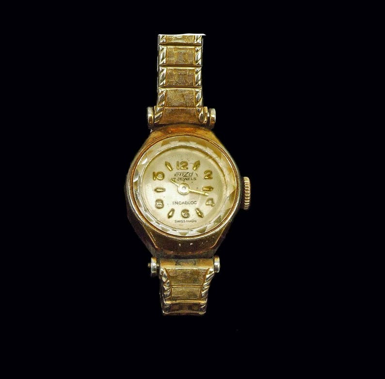 9c40e5dd3f9 Vintage Ladies Incabloc Swiss Watch Enzd 17 Jewels 10K RGP