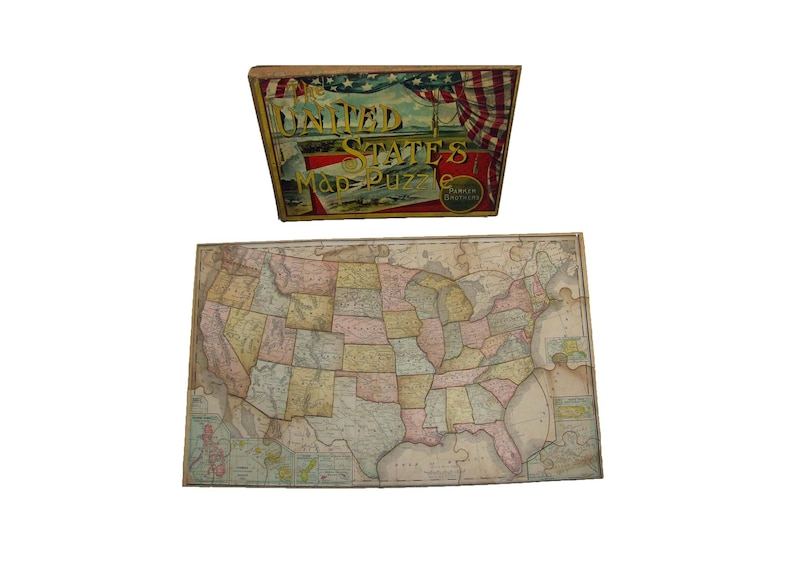 Rare Antique 1907 Color Lithographed United States Map Puzzle Etsy - Us-map-jigsaw-puzzle