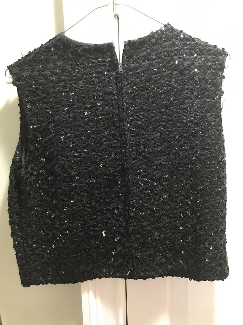 1960s Black Sparky Sequins Short Sleeveless Evening Top Blouse Go Go Girl Formal Wedding