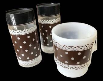 Vintage Brown White Polka Dot Fire King Fireking Coffee Mug Matching Polka Dot Glass Salt Pepper Shaker Anchor Hocking  Glamping Camping