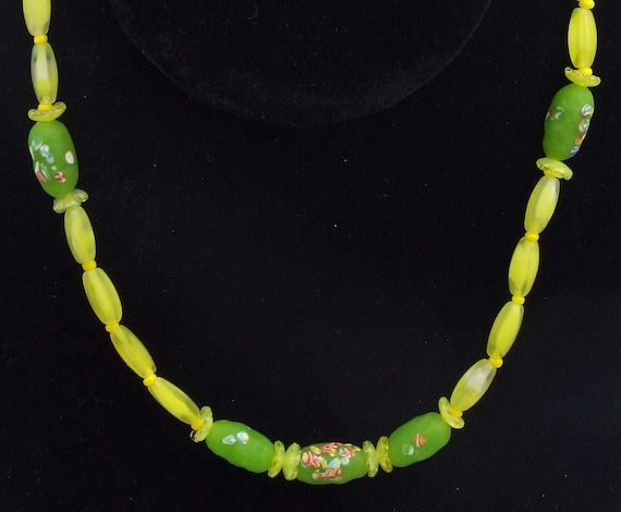 Olive Green Rectangle wGold Acrylic Bead NecklaceEarrings Set
