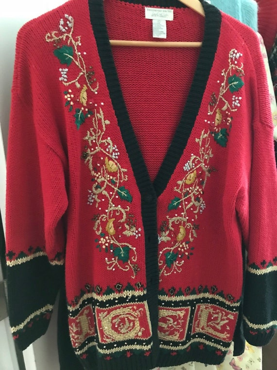 Vintage Lord Taylor Ladies Embroidered Christmas C
