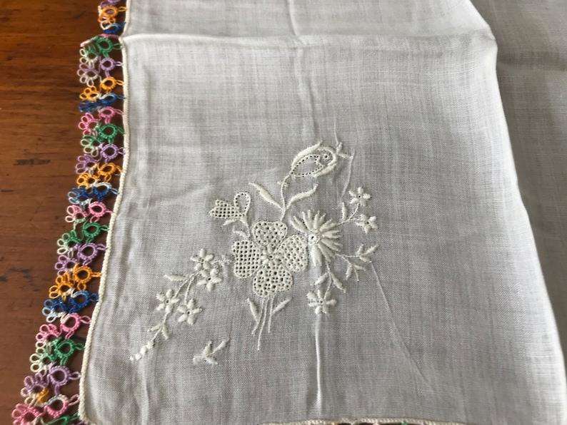 Irish Linen Crochet Bride Handkerchief Rainbow Colored Open Crocheted Edgesm White Open Embroidery Flowers  Made in Ireland Hankie