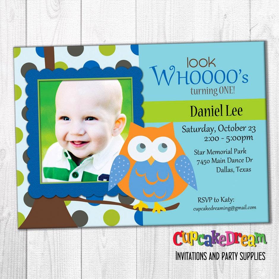Owl Birthday Invitation Boy First Birthday