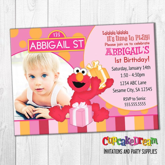 Elmo Birthday Invitation Sesame Street Girl By Cupcake Dream