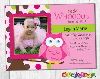 First Birthday Invitation, Owl Birthday