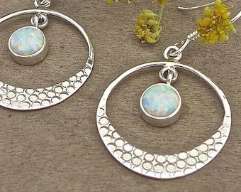Dangle Earrings Sterling Silver, Boho Earrings, Opal Earrings, White Opal Silver Earrings, Circle Earrings, Hoop Earring, Earrings for women