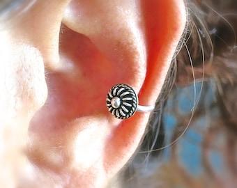 Flower Ear Cuff, Non Piercing Earring, Ear Cuff, Non Pierced, Silver Ear Cuff, Ear Wrap, Ear Cuff, Ear Cuff Silver, Jewelry, Fashion Jewelry