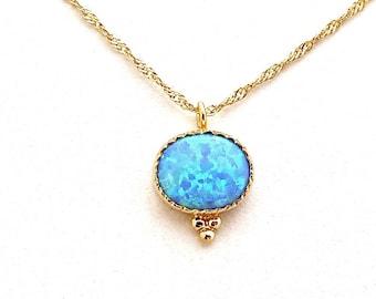 Blue Opal Necklace, Blue Opal Necklace Gold, Solitaire Necklace, Blue Opal Pendant, Goldfilled Necklace, Dainty Necklace, October Birthstone