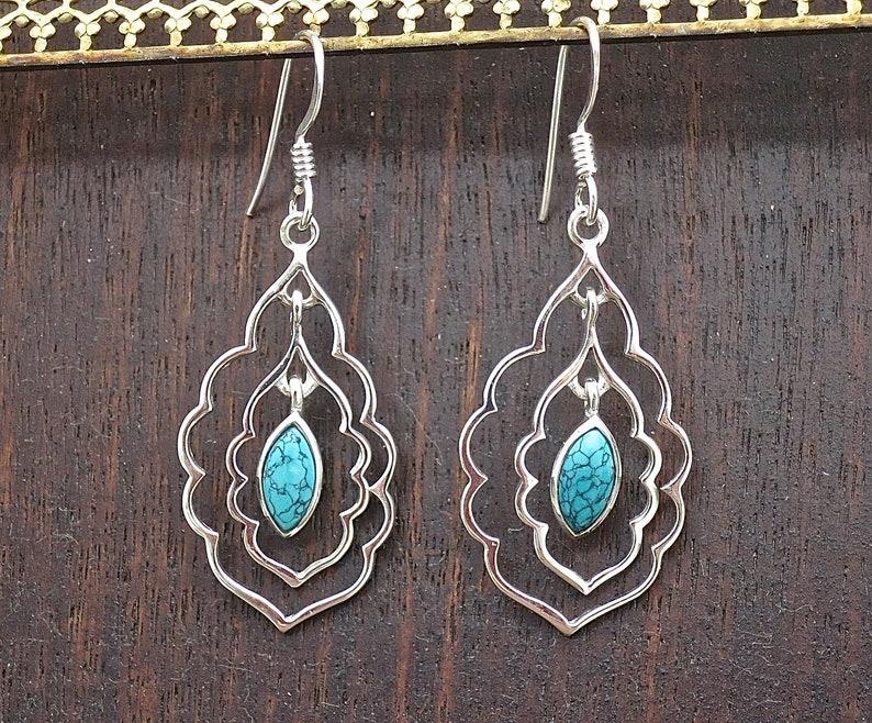 Stone Earrings Turquoise dangle earrings Teardrop Earrings Earrings for women Boho earrings Silver Turquoise Earring Statement earring