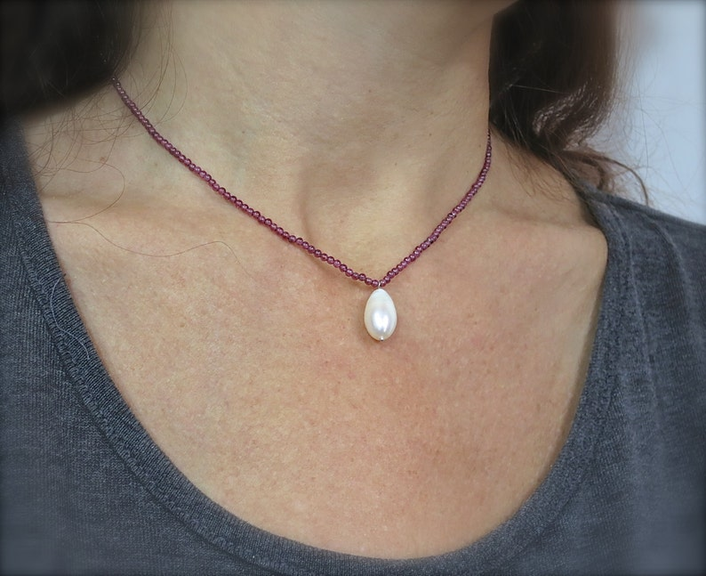 Stone Necklace Gemstone Necklace Unique Gifts Drop Necklace Garnet and Pearl Jewelry Womens Gift, Pearl Necklace
