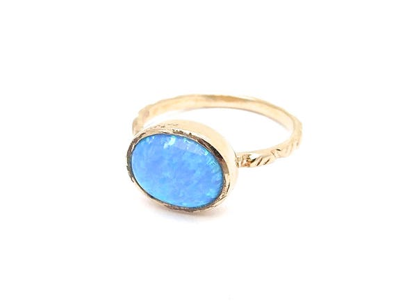 Opal Ring Stackable ring Women ring Simple ring Stone Ring Opal Gold Ring Big stone rings Boho ring Blue Opal Ring Everyday ring