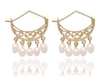 14K Solid Gold Chandelier Earrings with Dandling Pearl, Bridal Earrings, Alternative Wedding Earrings, Bohemian Wedding Earring, Birthstone