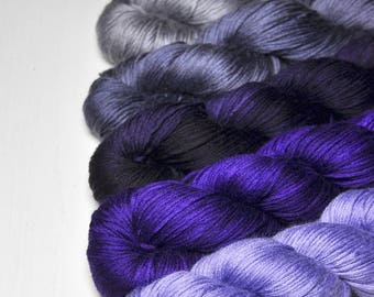 Your Grace - Gradient Yarn Set of Silk / Cashmere Fingering Yarn - Purple Hand Dyed Yarn - handgefärbte Wolle - DyeForYarn
