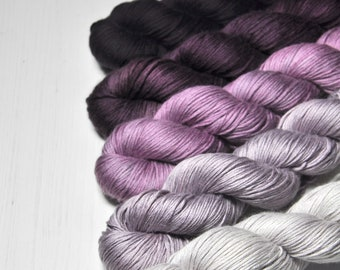 Mental decline - Gradient Yarn Set of Silk / Cashmere Fingering Yarn - Hand Dyed Yarn - handgefärbte Wolle - DyeForYarn