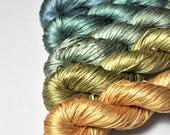 Reedy hide-out - Gradient Yarn Set of Silk Tape Lace Yarn - Hand Dyed Yarn - handgefärbte Seide  - Garn handgefärbt - DyeForYarn