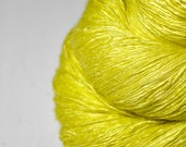Sickly yellow - Tussah Silk Lace Yarn - Hand Dyed Yarn - handgefärbte Seide  - Garn handgefärbt - DyeForYarn