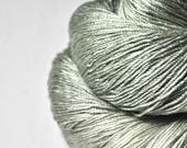 Dried green lichen OOAK - Cordonnette Silk - Hand Dyed Fingering Yarn - handgefärbte Seide  - Garn handgefärbt - DyeForYarn